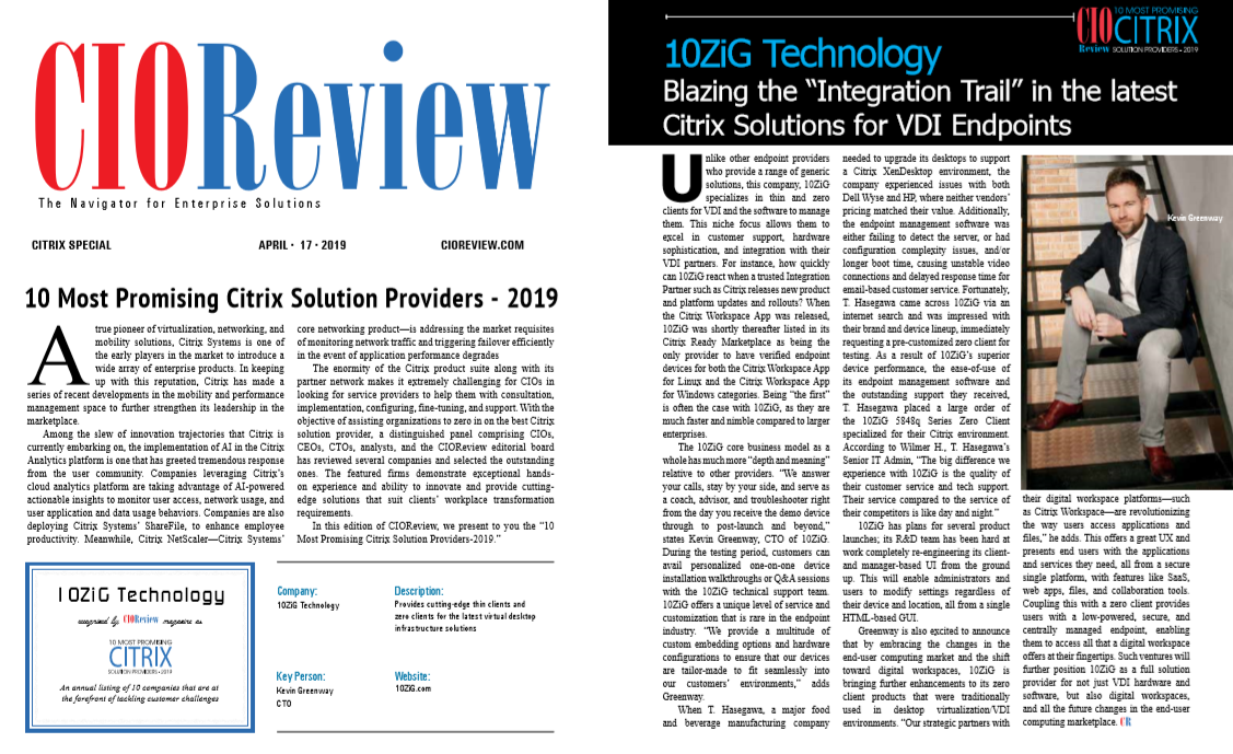 10ZiG Recognized as One of the 10 Most Promising Citrix Solution Providers - 2019